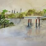 Mia Feuer, Antediluvian, 2014. Watercolor.