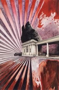 Gwyneth Scally, Park Structure, 2014. Oil on mylar, 30 x 20 inches.