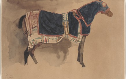 "Obj. No. 2006.53 Eugène Delacroix (French, 1798–1863) Cheval vetu pour la promenade, 1832 Watercolor on paper 4⅝""H x 7 3/16""W; 11.75 cm x 18.26 cm Initialed lower left corner, E D.  Virginia Museum of Fine Arts, Richmond.  Collection of Mr. and Mrs. Paul Mellon. Photo: Troy Wilkinson       © Virginia Museum of Fine Arts"
