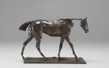 "Hilaire Germain Edgar Degas (French, 1834–1917) Thoroughbred Horse Walking, cast 1919-21 Bronze 5⅜""H x 4⅛""W x 8⅜""D 13.65 cm x 10.48 cm x 21.27 cm Marks: base, Degas; founders mark in rectangle CIRE / PERDUE / A A HÉBRARD; 66 / E; on bottom, two labels, A6255 and 83; on bottom, written in black, A6255 Image must be credited with the following collection and photo credit lines: Virginia Museum of Fine Arts, Richmond. Collection of Mr. and Mrs. Paul Mellon. Photo: Katherine Wetzel      © Virginia Museum of Fine Arts"