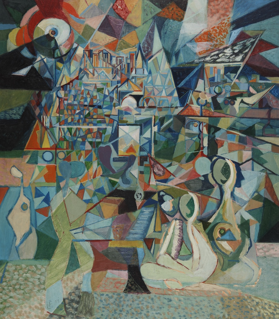Francis Littna, Metropolis, 1959. Oil on board, canvas 25 3/4 x 23 inches (65.4 x 58.4 cm) overall: 26 x 23 x 2 inches. Gift of the Friends of Victoria and Francis Littna. Kalamazoo Institute of Art. 1981/2.69