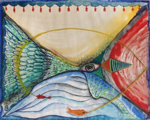 Margaret Sutton, Untitled (Stage with eye, fish), ca. mid 1940s. Watercolor on paper, 50.3 x 63.4 cm. Gift of Alfred Levitt. University of Mary Washington Galleries, accession no. 1993.11.0055
